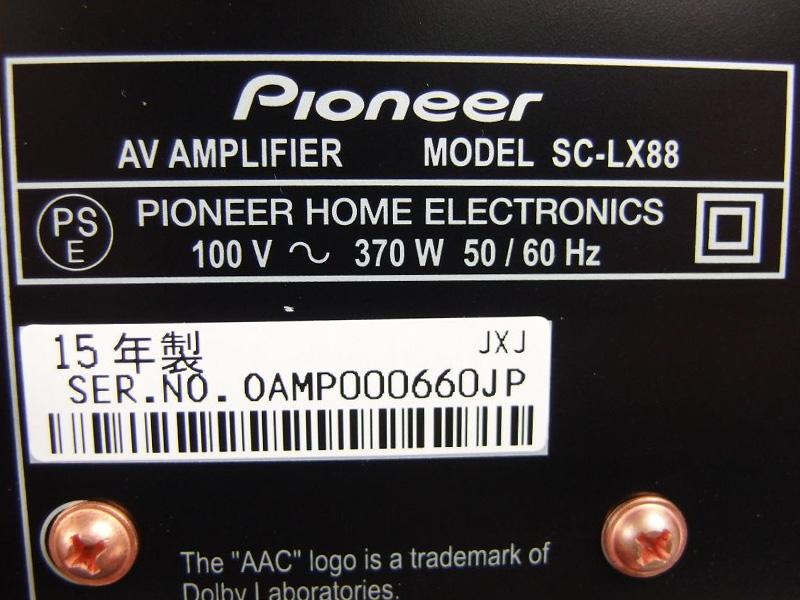 パイオニア Pioneer AVアンプ 黒 SC-LX88